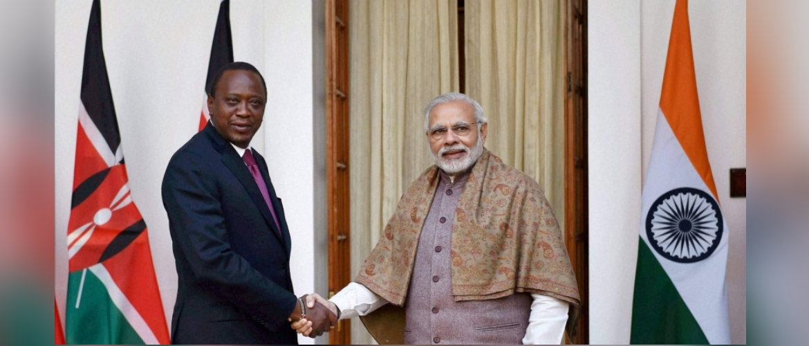 Hon'ble Prime Minister of India Mr. Narendra Modi with Honb'le President of the Republic of Kenya Mr. Uhuru Kenyatta at Hyderabad house in New Delhi in January 2017.
