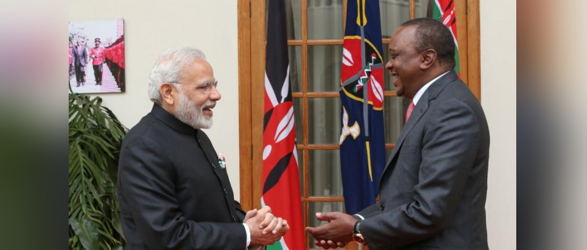Hon'ble Prime Minister of India Mr. Narendra Modi with Honb'le President of the Republic of Kenya Mr. Uhuru Kenyatta during his visit to Nairobi in July 2016.