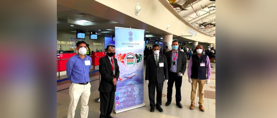 Cd'A Mr. Ashish Sinha, along with team of High Commission and representatives of Air India, seeing off passengers boarding Vande Bharat Mission repatriation flight at Jomo Kenyatta International Airport, Nairobi