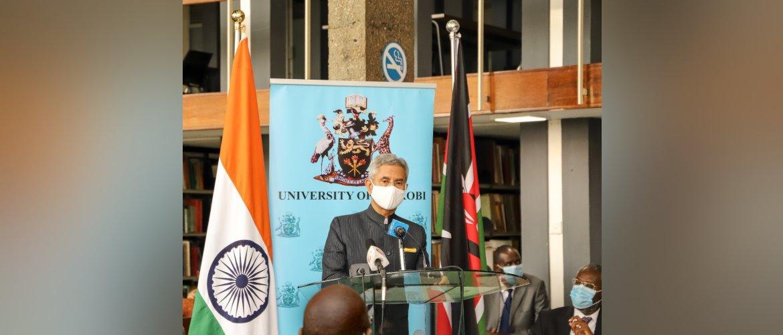 Dr. S. Jaishankar, External Affairs Minister addressing the gathering at the inauguration of the refurbished 'Mahatma Gandhi Library' at the University of Nairobi 14 June 2021