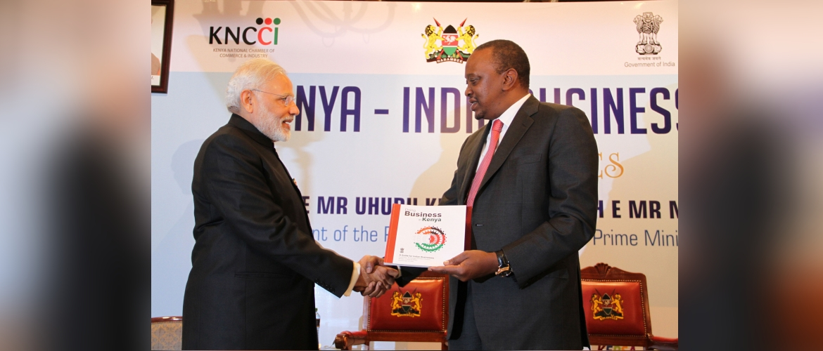 Hon'ble Prime minister of India H.E Mr.  Narendra Modi presented a Guide for Indian Businesses  to Hon'ble  President of Kenya H.E. Mr. Uhuru Kenyatta during his state visit to Kenya in July, 2016.