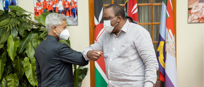 Dr. S. Jaishankar, Hon'ble External Affairs Minister of India with H.E. Mr. Uhuru Kenyatta, Honb'le President of Kenya at the State House. 14 June 2021